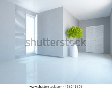 White empty room with wardrobe. Living room interior. Scandinavian interior. 3d illustration - stock photo