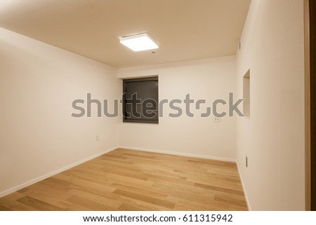 White Empty Room With Wall Wood Floor Window At Night
