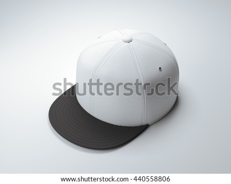 White empty snapback in white studio. 3d rendering