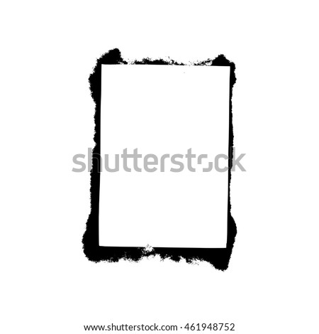 White empty square frame with black paint blots
