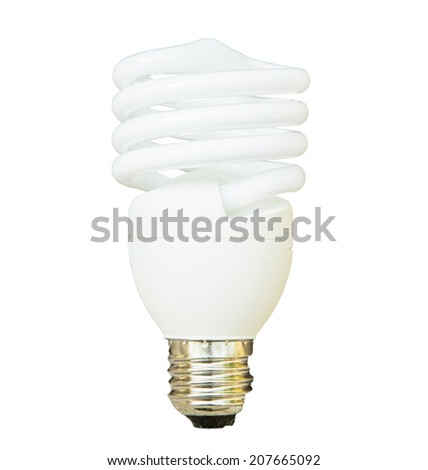 white energy saving bulb, CFL bulb, Realistic photo image on white background - stock photo