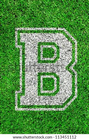 White english alphabet B on green grass - stock photo