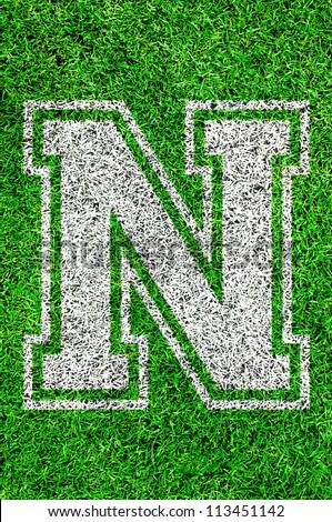 White english alphabet N on green grass - stock photo