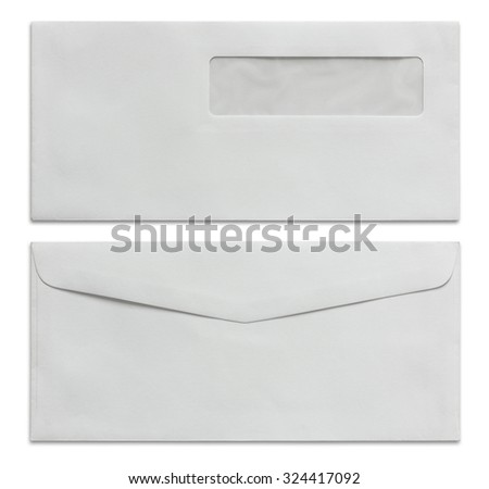 white envelope isolated on white background - stock photo