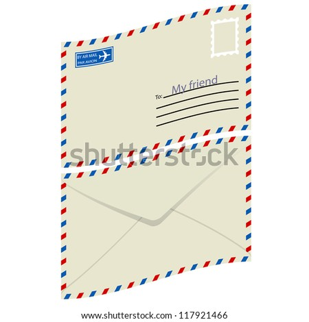 White  envelope with stamp.  illustration.