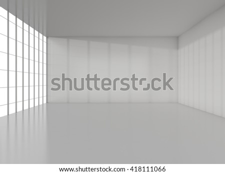 White exhibition room. Reflection floor and big window. 3D rendering - stock photo