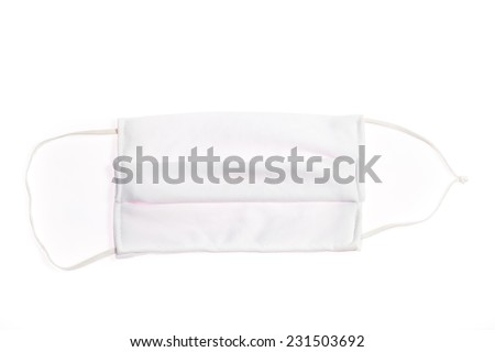 White fabric protection mask use to prevent illness and safety - stock photo