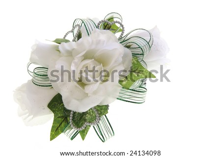 White fabric rose flower wrist corsage stock photo royalty free white fabric rose flower wrist corsage for prom valentines day or other special event mightylinksfo Images