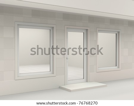 White facade of empty shop - stock photo