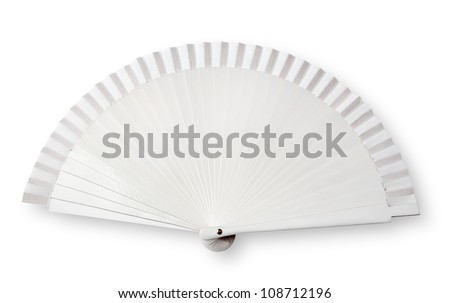 White fan on white with shadow ( clipping path) - stock photo