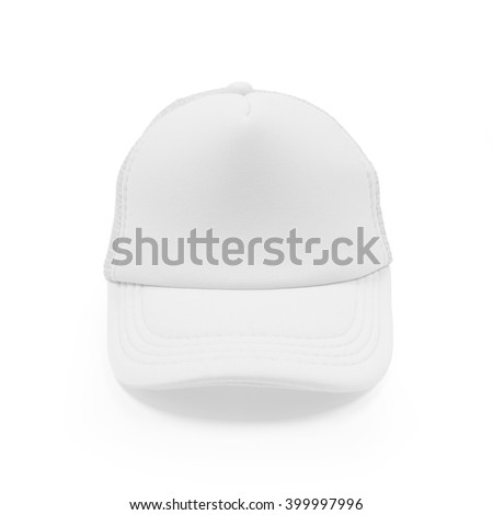 White fashion cap on isolated background. Sun protection sport hat for your brand and design.