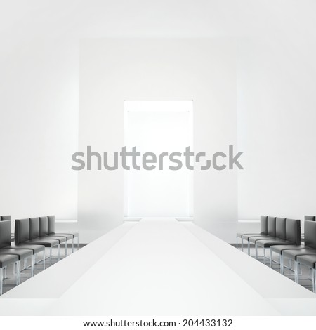 White fashion podium empty runway - stock photo