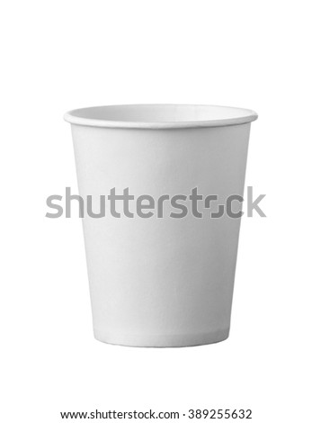 white fast food cup for drink. Isolated on white background. - stock photo