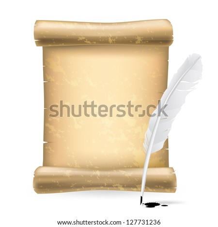 white feather and old scroll - stock photo
