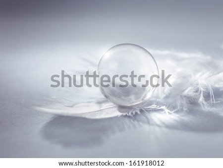 White feather with a marble - stock photo