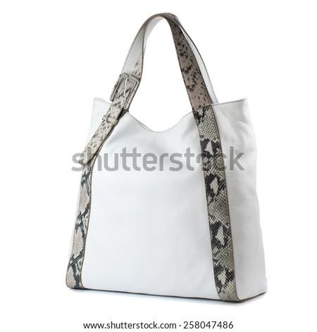 White female leather handbag isolated on white background - stock photo
