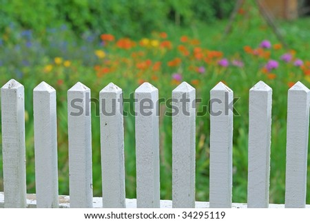 white fence - stock photo