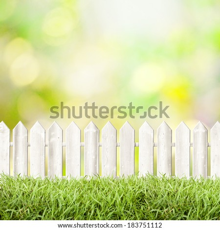 white fence grass, natural background