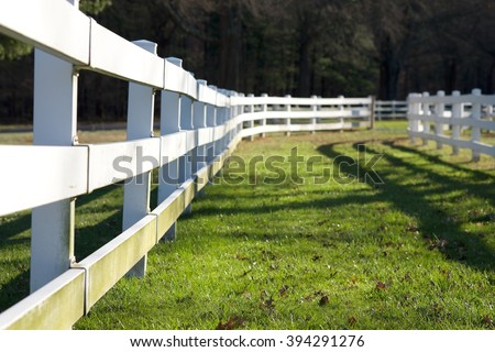 WHITE FENCE IN HOUSE FARM - stock photo