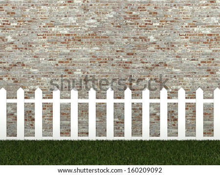white fence on brick wall ,3d