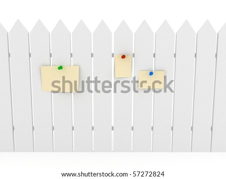 White fence over background. 3d rendered image - stock photo