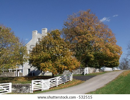 white fence Shaker Village, Pleasant Hill, Kentucky - stock photo