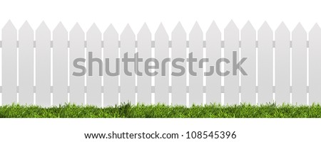 White fence with green grass isolated on white with clipping path - stock photo