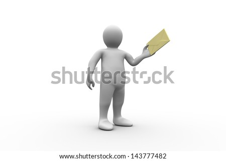 White figure holding a brown envelope on white background