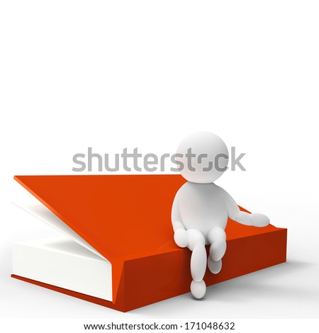 white figure with a big book