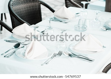 White Fine  Table Setting. summer - stock photo