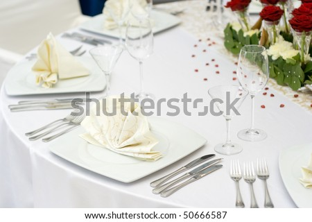 White Fine Wedding Table Setting - stock photo