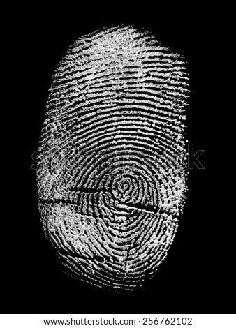 white finger print isolated on black background - stock photo