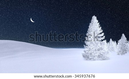 White fir tree completely covered with hoarfrost under dark night sky with a half moon. Decorative 3D illustration was done from my own 3D rendering file. - stock photo
