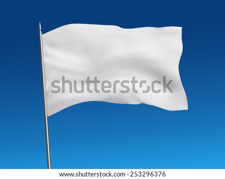White flag template on blue sky, isolated, clipping path included - stock photo