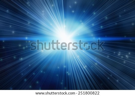white flash on a blue backgrounds. Many small stars around white planet. - stock photo