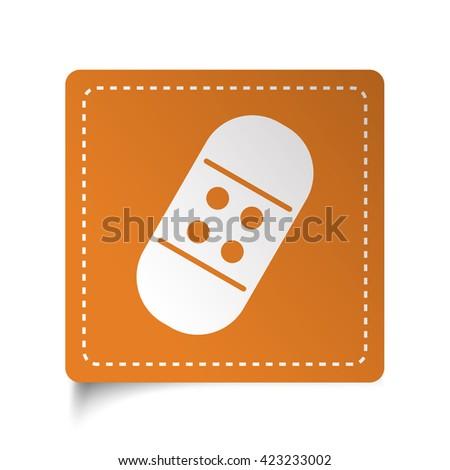 White flat Adhesive Bandage icon on orange sticker - stock photo