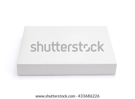 white flat board box  isolated on white background with original shadow with clipping path - stock photo