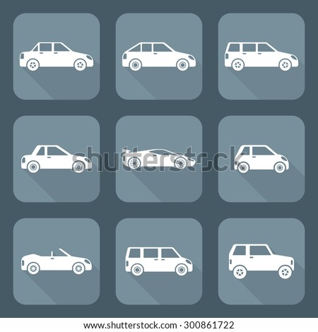 white flat design various body types of cars classification icons  set sedan saloon hatchback station wagon coupe cabriolet microcar compact supercar sportcar crossover minivan camper minibus  - stock photo