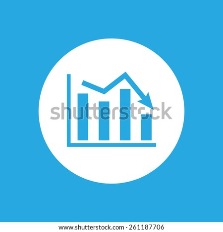 white flat icon of graph going down - stock photo