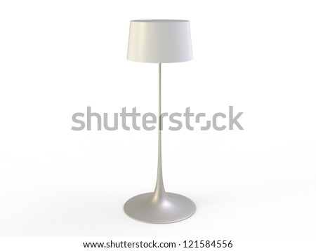 White Floor Lamp on a white background - stock photo