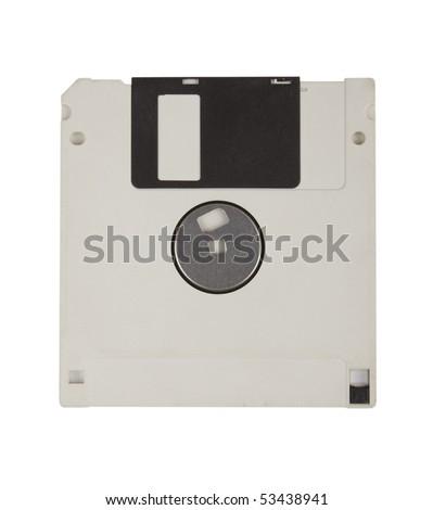 White floppy disk against white background - stock photo