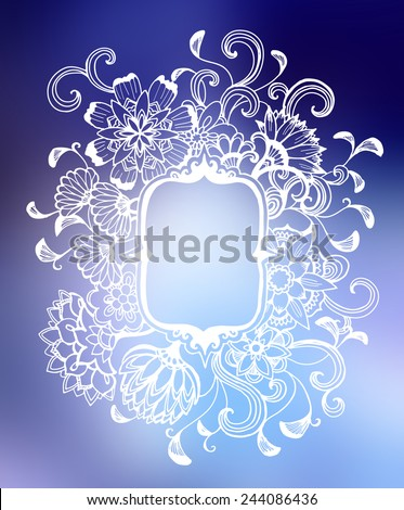 white flower frame design on blurred blue and purple background, elegant vintage style fancy floral doodle pattern of curls and hand drawn line design elements with copyspace, blank flower text box - stock photo