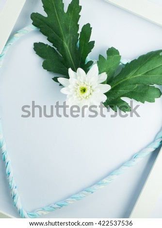 white flower with heart lind in withe frame - stock photo