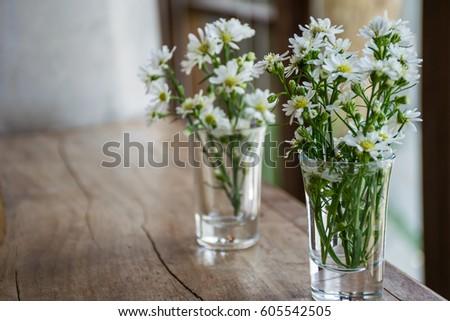 White Flowers Glass Vase Vintage Tone Stock Photo Edit Now