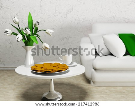 white flowers on the table, rendering
