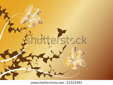 white flowers on yellow-brown background