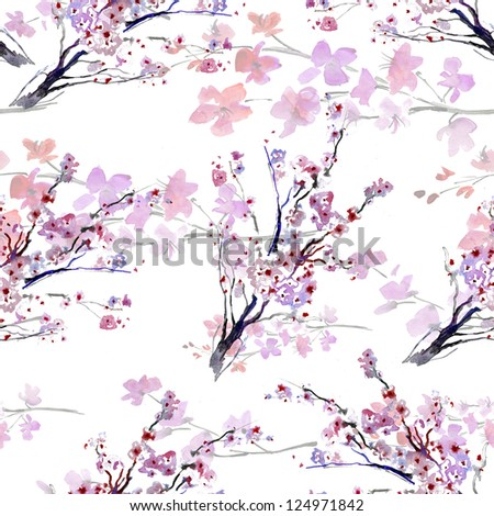 white  flowers. pattern. watercolor - stock photo