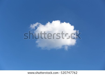 White fluffy cloud in the clear blue sky