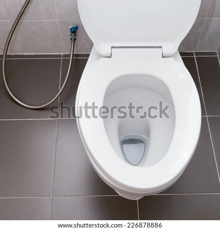 white flush toilet in modern bathroom interior - stock photo