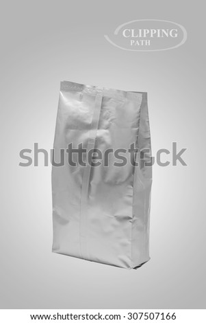White foil bag blank package on background (with Clipping Path) - stock photo